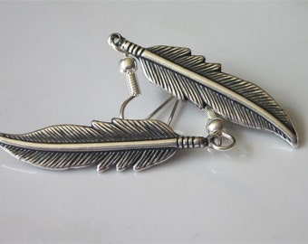 Antiqued Silver Feather Earrings Medium