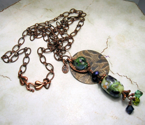 Green Lampwork Necklace - Antique Copper Chain  Beaded Jewelry 'Spring Fancy'