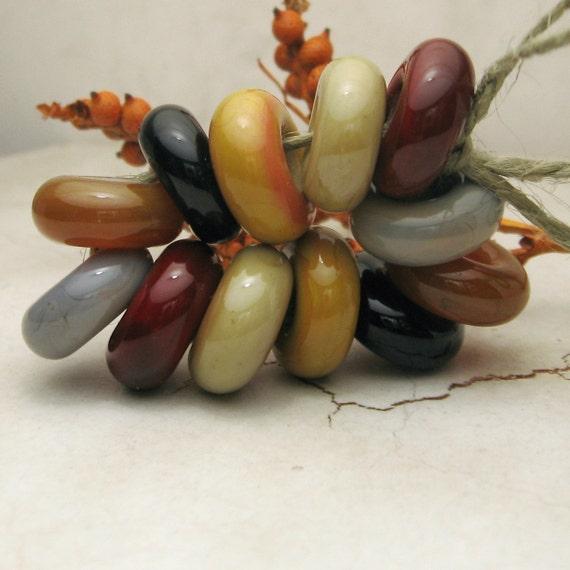 Lampwork Glass Beads Rustic Autumn Organic Slider Rings Gray Black Cranberry Harvest GoldJewelry Supply
