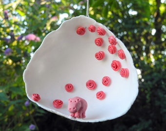 Hippo in a rose garden - porcelain decorative hanging.