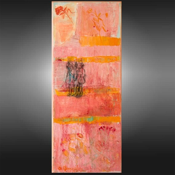 Abstract Painting Mixed media textured flowers, 8x20 drawing little girls, orange pink blue fuchsia black textured