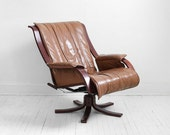 ON HOLD until September 4th - Mid Century Leather Lounge Chair - Modern, Side, Wood, Retro
