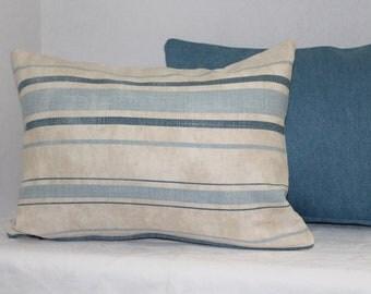 One Lumbar Pillow Cover 12 x 16 Nursery Pillow Cover Blue Denim Stripe
