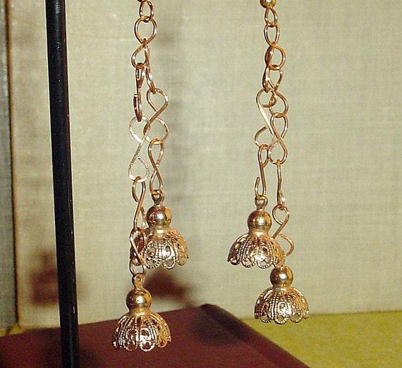 Earrings vintage chain and filigree bells
