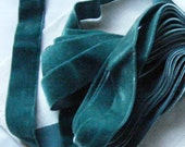 Antique 1940's French Velvet Ribbon 7/8 Inch Gorgeous Teal Blue