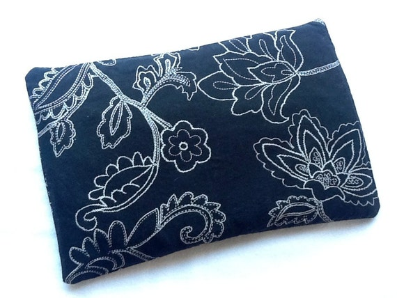 8x11 Reusable Microwave Heat or Cold Pack Corn Filled Black White Flower