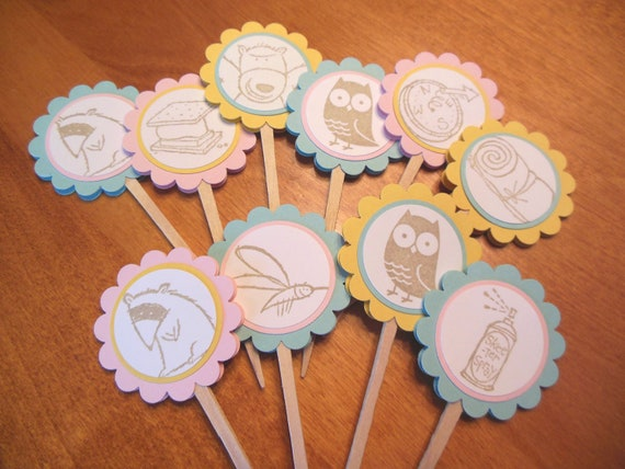 Glamping Cupcake Toppers, Camping Cupcake Toppers, owls, racoons, mosquitos, smores, bears - Set of 12