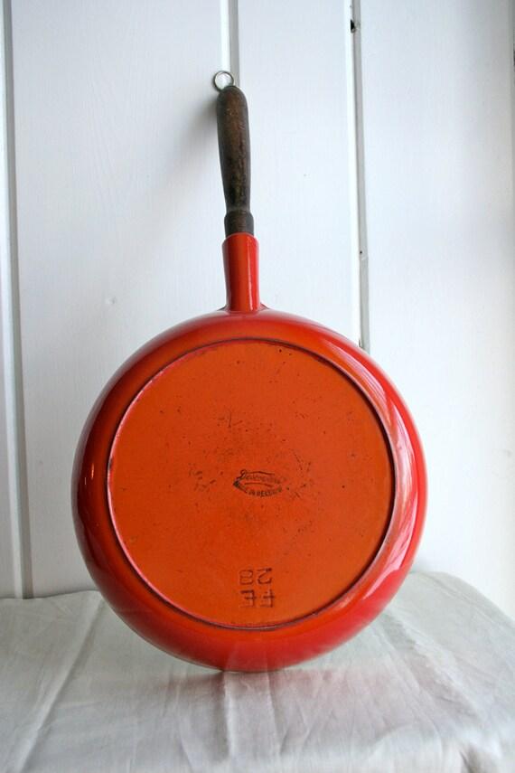 Vintage Descoware Skillet Frying Pan Wooden Handle Enameled