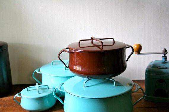 Vintage Dansk Kobenstyle Enamel Cookware IHQ Enameled Jens Quistgaard Dutch Oven Brown Sale