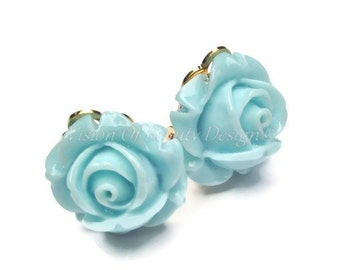 Powder Blue Rose, Spring Flower Clip On Earrings
