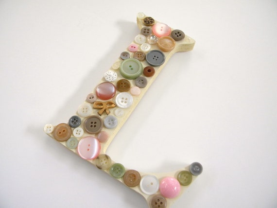 Vintage Button Initial wall hanging, medium, L