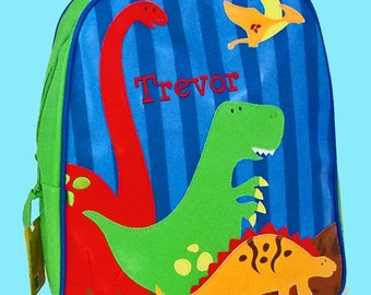 Personalized Stephen Joseph GoGo Backpack DINO Themed Bag in Blue