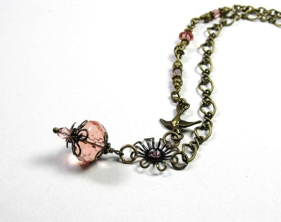 Dusty Rose Vintage Style Pendant Necklace, Rose Smoke