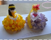 Set of Two Loopy Puff Princesses Belle Rapunzel OOAK