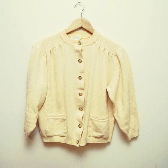 r e s e r v e d...SALE...60s lemon meringue wool SWEETHEART shrunken cardigan - small, medium