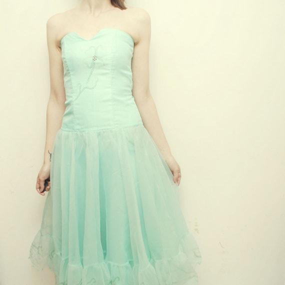 SALE...60s 70s full circle CHIFFON dress. strapless Garden of Eden prom dress - xxs, extra small