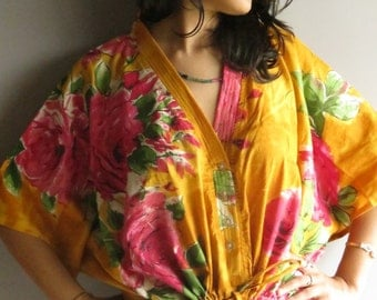 Yellow Floral - Nursing Kaftan - Perfect as loungewear, as beachwear, gift for moms and to be moms and more