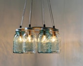 MODERN COUNTRY Mason Jar Chandelier - Upcycled Hanging Mason Jar Lighting Fixture For Direct Hardwire - Rustic BootsNGus Lamps & Home Decor