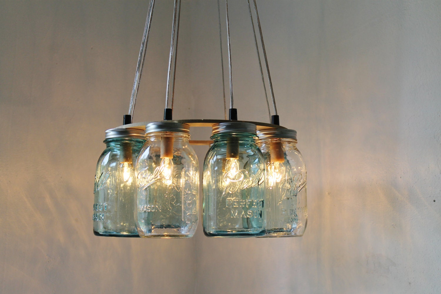 MODERN COUNTRY Mason Jar Chandelier Upcycled Hanging By