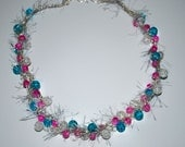 Cotton Candy 1 Wire Crocheted Necklace