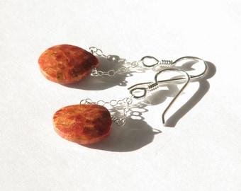 Teardrop sponge coral dangle earrings- orange rust gemstone chain earrings- sterling silver- minimalist- boho- fall equinox- Samhain