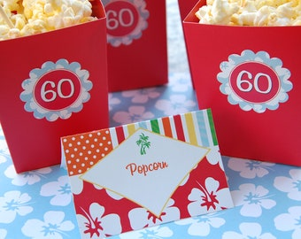 SALE Beach Blanket Bingo 60th Birthday Printables Set - Any Age available.  Cupcake wrappers, party squares, banner, editable signage & more