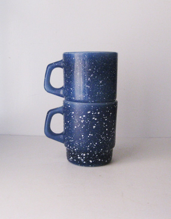 Fire King Mugs, Granite Ware Speckled Blue