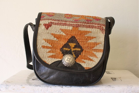 woven kilim cross body saddle bag . southwest cabochon purse