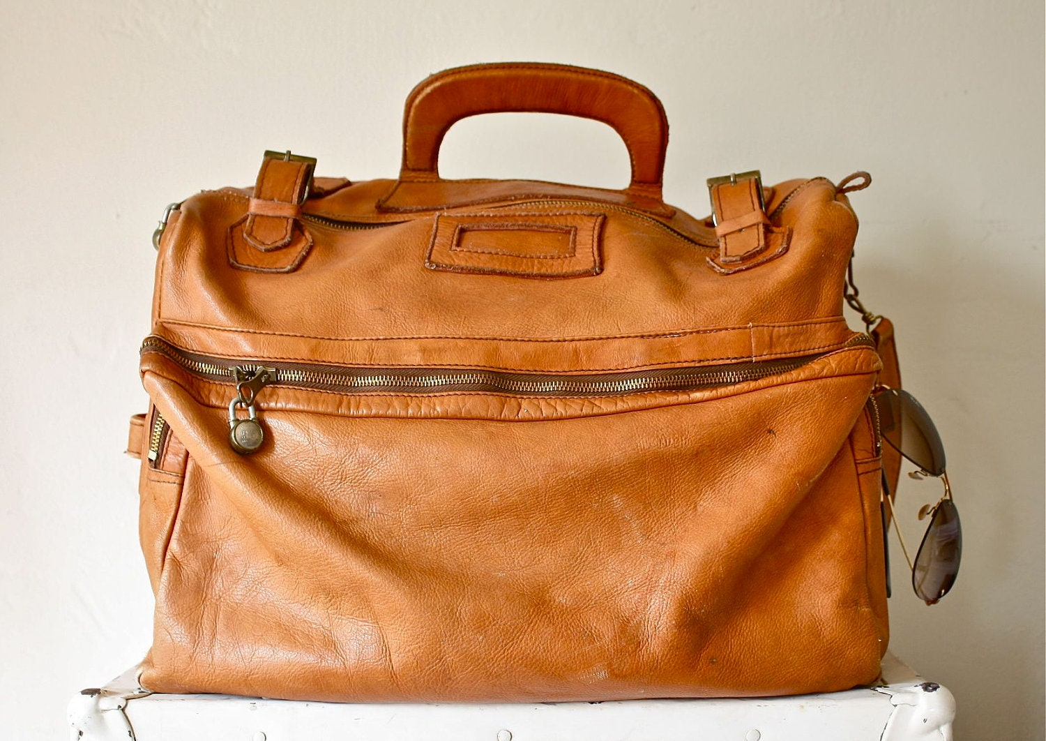 Reserved 60s Large Leather Weekender Bag Luggage By