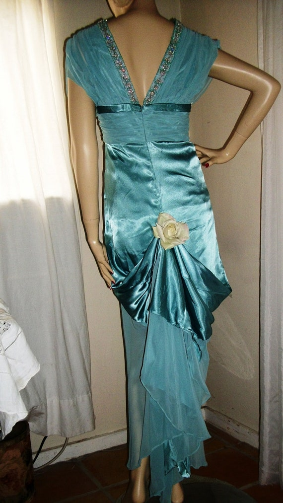 Unique Vintage 1980 Teal Blue Green Satin Gown 1920s Flapper Style Very Unique Gathered Back Beaded Bodice Sheer  Sleeves Size Medium 8 - 12