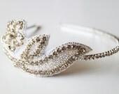 Rhinestones Floral Silver Metal Hairband. Bling. Headband. Sparkles. Prom. Weddings. Flower. Leaves. Nature. Winter Weddings