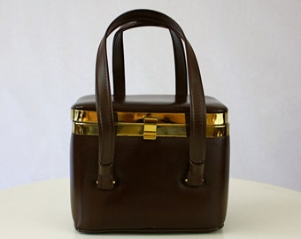 Vintage 50s Box Purse Garay Small Brown Faux Leather Handbag