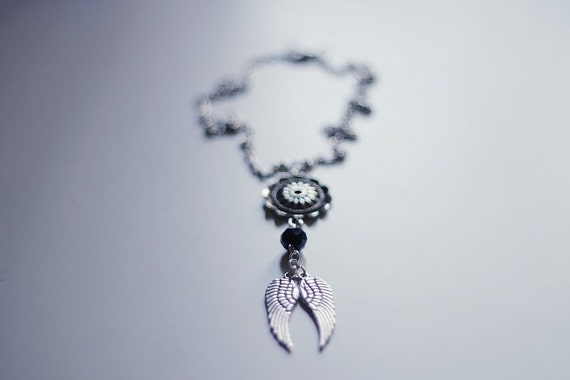 Winged - beaded charm necklace