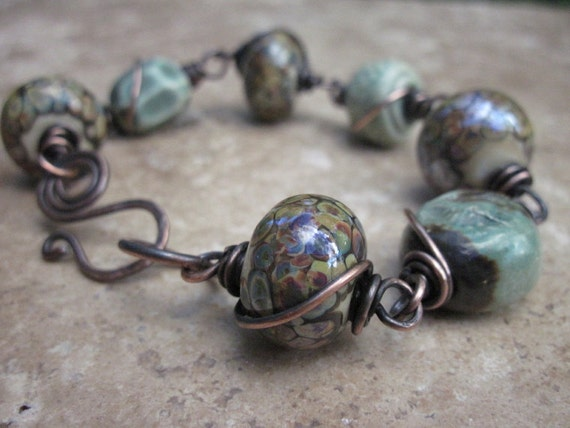 Bracelet Wire Wrapped in solid copper Lampwork and ceramic