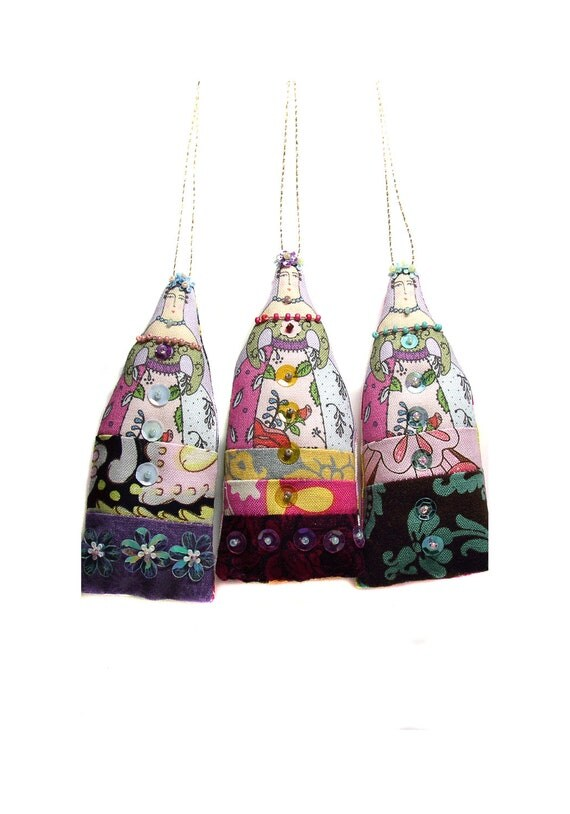 SALE  3 small textile art cloth art doll flower ladies ornaments   15% OFF use coupon code OCT15 at checkout