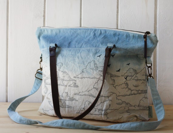 One of a kind - Naturally Dyed - Sky Zipper Tote no.2
