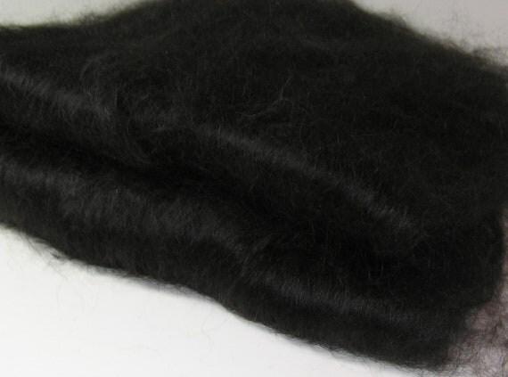 Suri Alpaca Smooth Spinning Batt, Lustrous, Silky, Natural Black, Thunder
