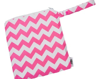 Chevron Pink and White - 12x12 Sweet Bobbins Wet Bag - SEAM SEALED - Snap Strap with Embroidery in turquoise