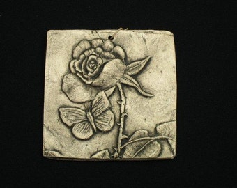 Rose 4x4 ceramic pottery porcelain relief flower tile
