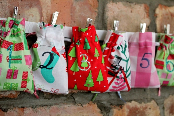 Contemporary Funky Christmas Advent Calendar (1) - Pink, Green, Multi - 24 MINI BAGS Garland