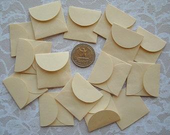Cream or Green- 16 Tiny Handmade ENVELOPES- tiny wedding envelopes small love notes candy miniature envelopes small envelope mini envelopes