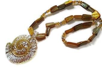 Shell pendant necklace with topaz  shells beachy jewelry metallic tropical island cruise jewelry