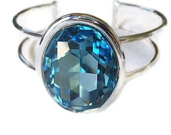 Bangle  bracelet  bling oval swarovski elements crystal cuff aquamarine blue birthstone for march fwb
