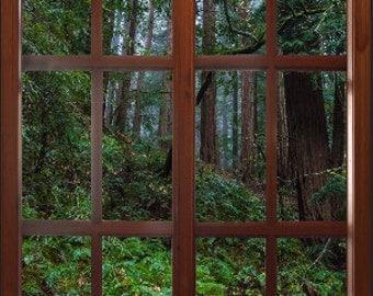 Wall mural window, self adhesive, Big Sur window view-large 24x36-California Redwoods - free US shipping