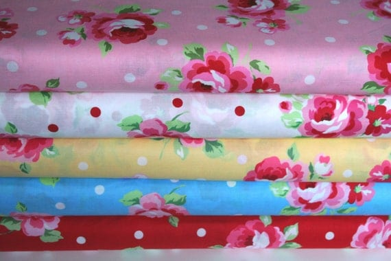 NEW Japanese, Lecien FLOWER SUGAR, Spring 2012, Large Roses and Polka Dots, Fat Quarter Bundle of 4