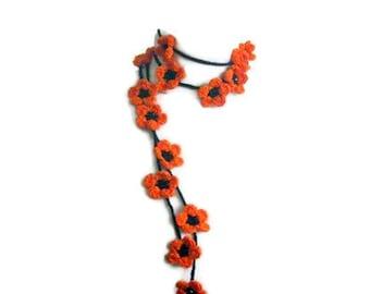 Crochet lariat scarf with Flower in Orange, Black,  Necklace,  Crochet Floral Necklace, Feminine, Trendy, Spring, Summer, Harvest,
