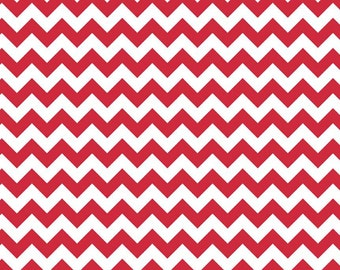 Red Small Chevrons Fabric by Riley Blake Designs - by the Yard - 1 Yard - Zig Zags - Red and White