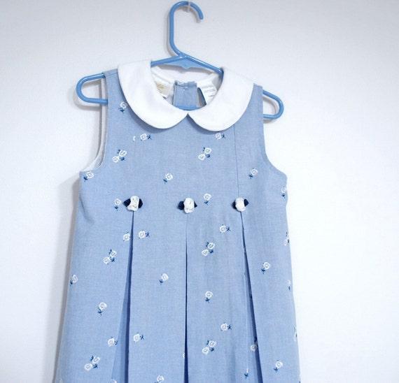 Girls Vintage Dress / Blue and White / Denim Blue / Embroidered / Sleeveless / Summer Dress / Little Girls Dress / Cotton / Size 5