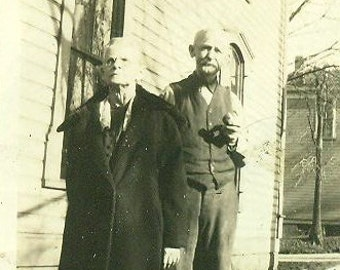 Grandma and Grandpa Carrier Elderly Husband Wife Bald Man With Pipe Couple Vintage Photo Black and White Photograph