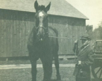 1920s A Boy and his Horse posing next to wagon in front of barn Farm Life Antique Vintage Photo Black and White Photograph